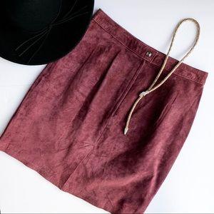 Vintage Suede Skirt Maroon Medium